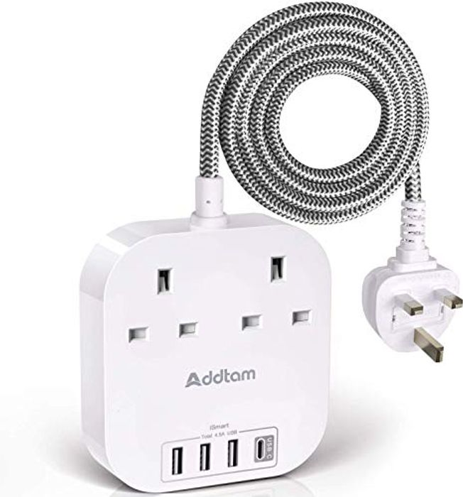 Extension Lead with USB C Ports, Power Strips with 2 Way Outlets 4 USB