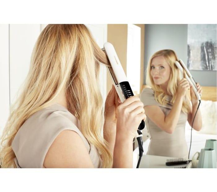 *HALF PRICE* GRUNDIG Touch Control Hair Straightener - White & Rose Gold