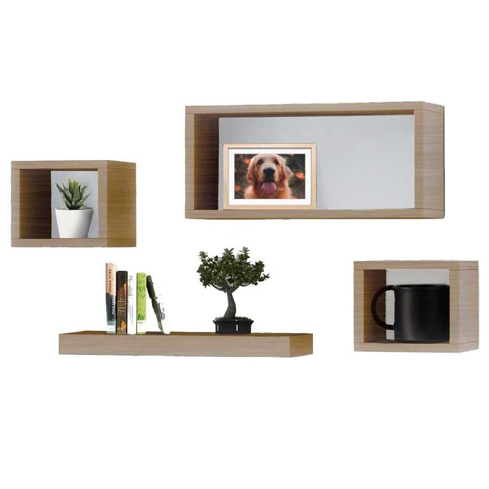 Cheap Set of 4 Oak Wooden Floating Shelves Only £10!