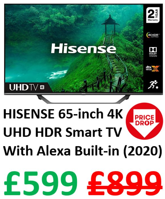 HISENSE 65-Inch 4K UHD HDR Smart TV. Netflix, PrimeVideo, & Alexa Built-in