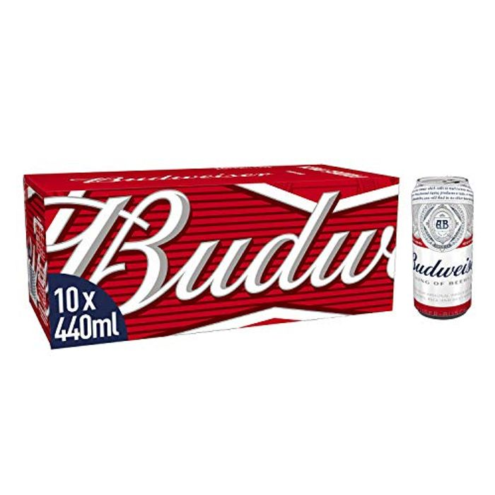Budweiser Lager Beer 10 X 440 Ml Cans, 4.5% ABV