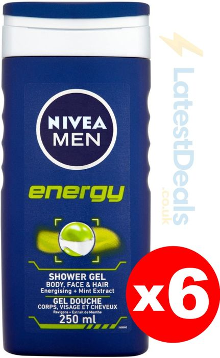 NIVEA Men Shower Gel Energy, Pack of 6