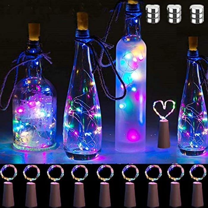 10 Pack Multicolour Bottle Lights