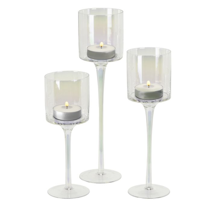 Set of 3 Irredescent Glass Table Candle Holders