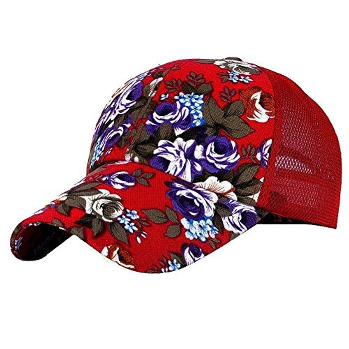 Floral Baseball Hat Cap Snapback Trucker Hat Cap Women Ladies Red
