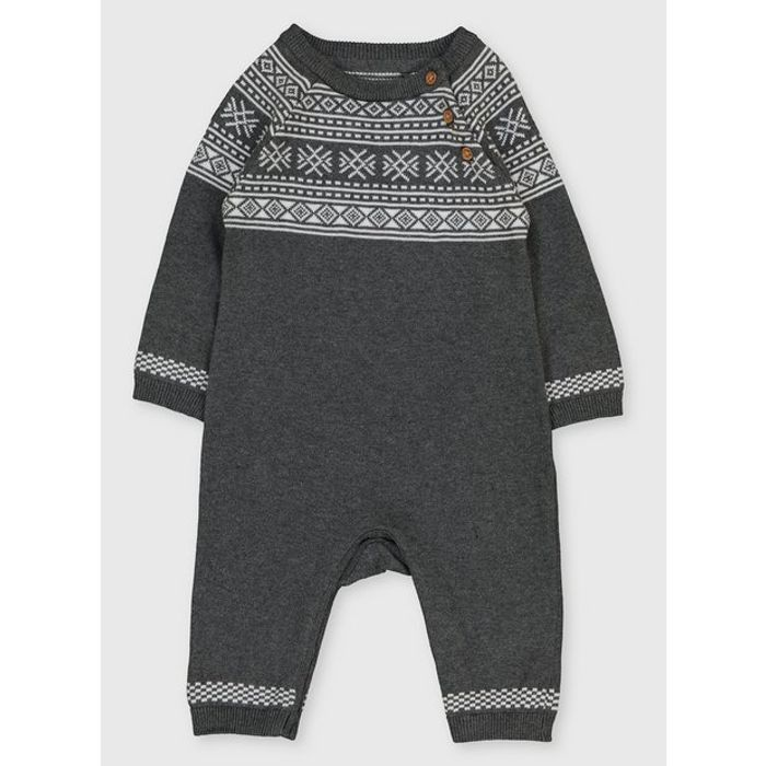 Grey Knitted Fair Isle Romper - 3-6 Months Click & Collect