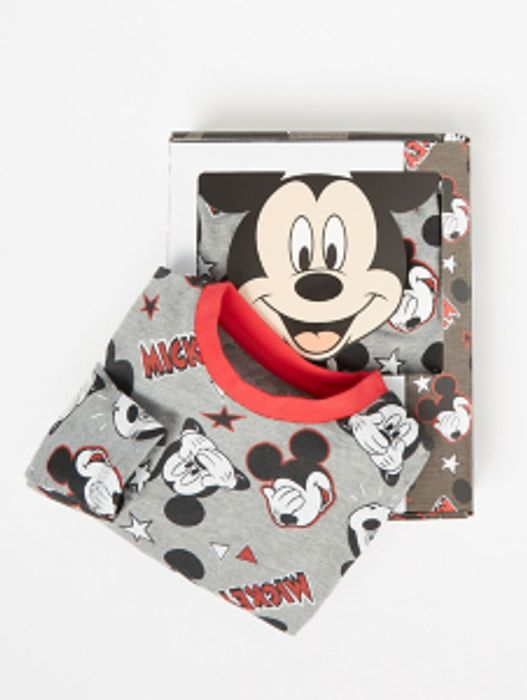 Disney Mickey Mouse Grey Print Pyjamas with Gift Box - Only £4!