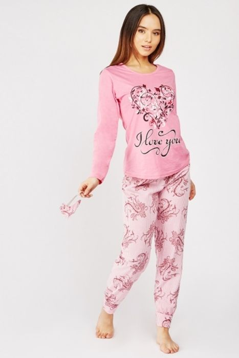 Heart Print Pyjama Set - Only £5!