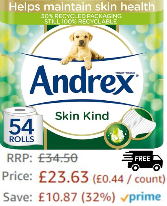 Andrex Skin Kind Toilet Roll Skin Kind, with Aloe Vera, 54 Rolls + FREE DELIVERY