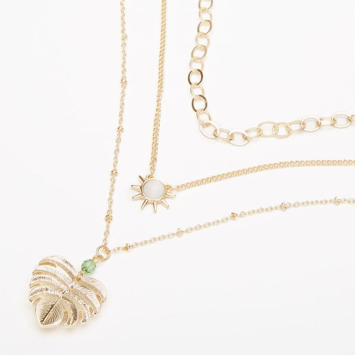 Gold Palm Leaf Stone Multi Strand Choker Necklace