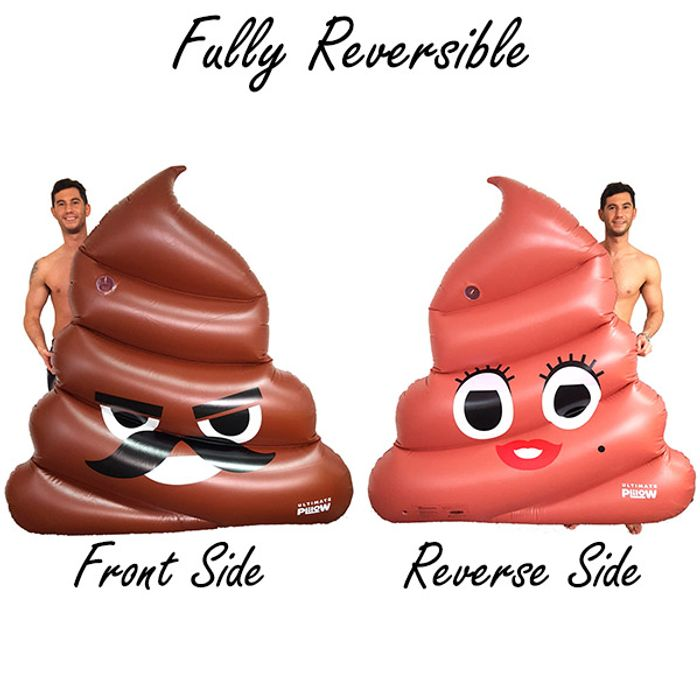 1 X Giant Blow up Inflatable Double Sided Poo Emoji Sun Lounger Lilo