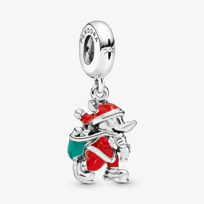 Disney, Santa Mickey & Gift Bag Pendant Charm