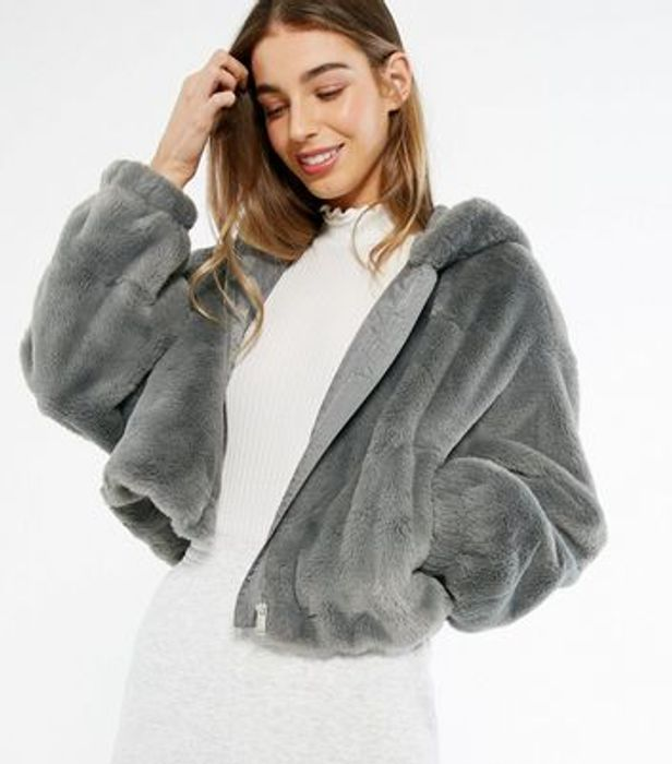 Dark Grey Faux Fur Zip Front Hoodie