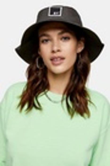 Grey Badge Bucket Hat