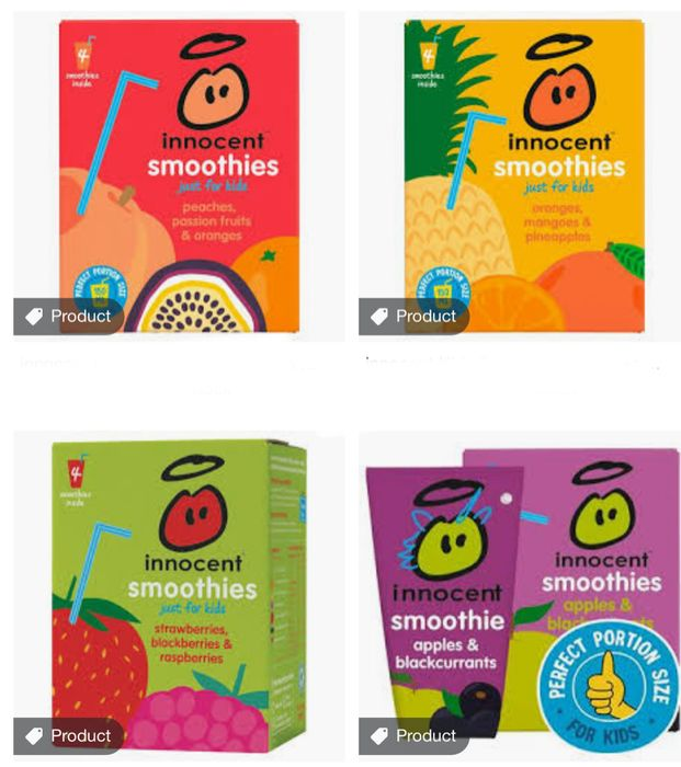 Nnocent Kids Smoothies 4x150ml All Flavours Only £1.50