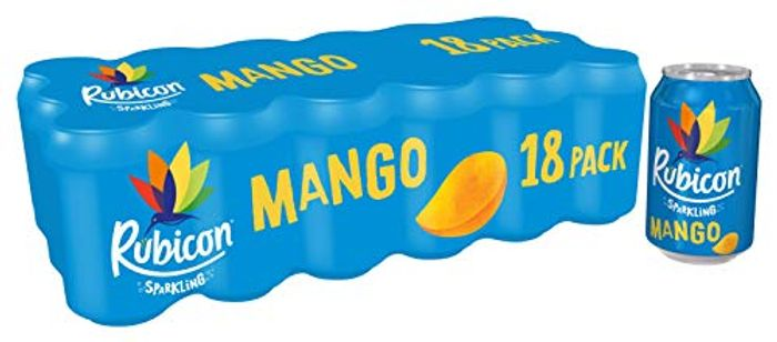Rubicon Sparkling Mango Fizzy Drink Cans, 330ml, (Set of 18),