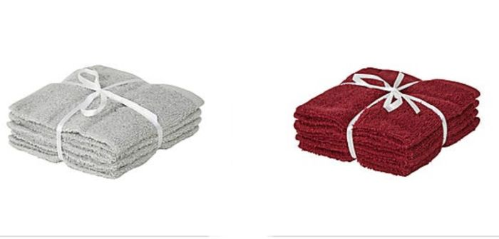 Pack of 4, 100% Cotton Face Clothes Silver/ Red Only £1