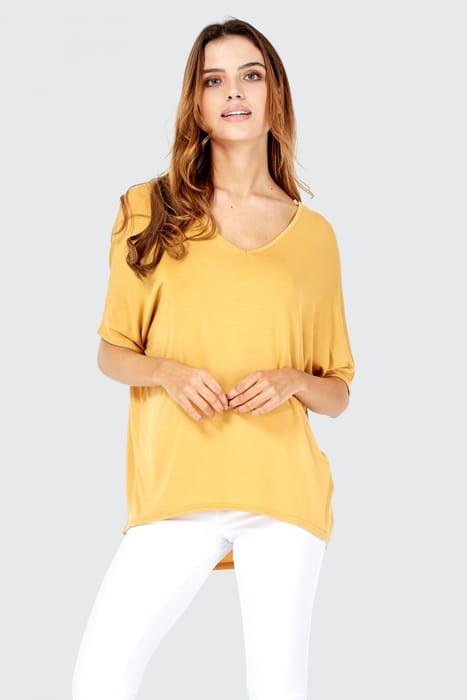 Mustard v Neck Curve Hem T-Shirt