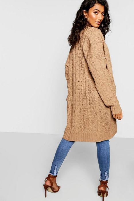 Oversized Slouchy Cable Knit Cardigan