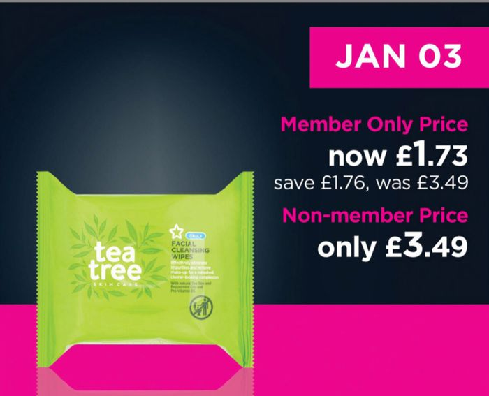 Superdrug Daily Deals Better than 1/2 Price on Selected Tea Tree Wipes