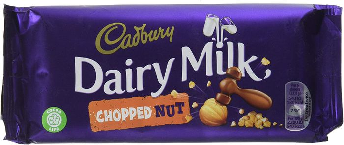 Cadbury Dairy Milk Chopped Nut Chocolate Bar, 95 G