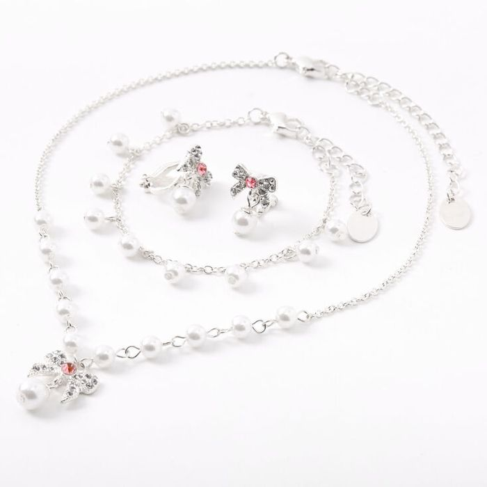 Claire's Club Pearl Bow Jewellery Set - Pink