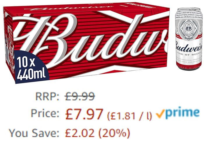 Budweiser Lager Beer 10 X 440ml Cans