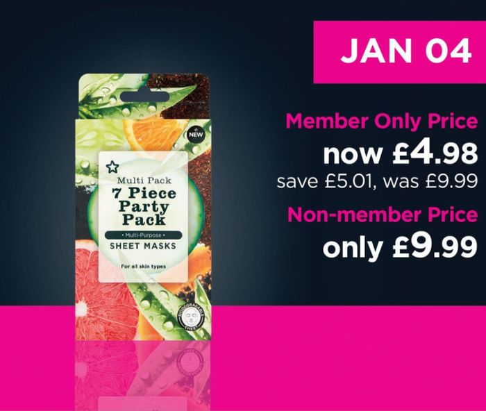 Superdrug Party Pack 7 Day Sheet Masks/Beauty Card Member Price £4.98