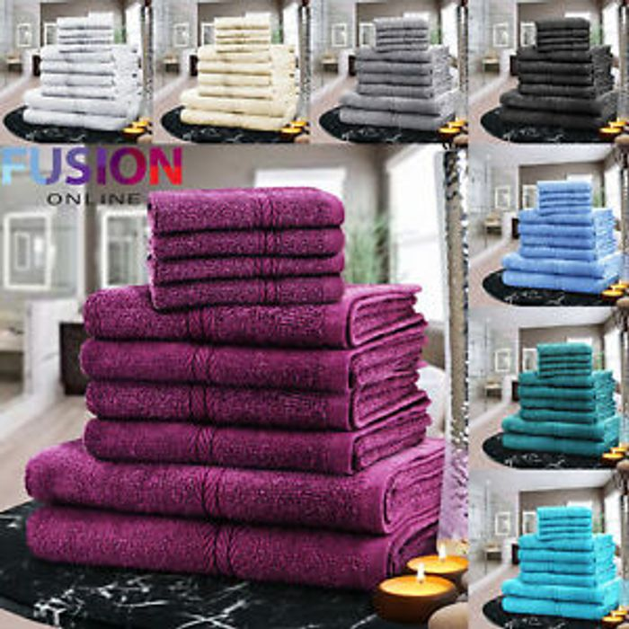 10 Piece Egyptian Cotton Towel Bale 10 Colours - £13.49 Delivered