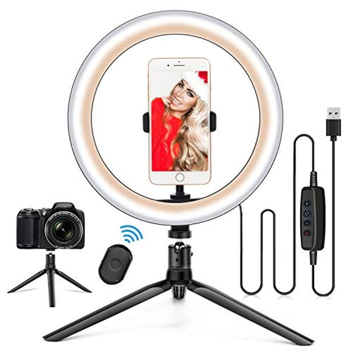 "DEAL STACK - 10.2"" Ring Light with Stand & Phone Holder + £3 Coupon"