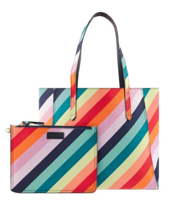 Cheap Reversible Rainbow/Navy Tote Bag & Pouch - Only £14.50!