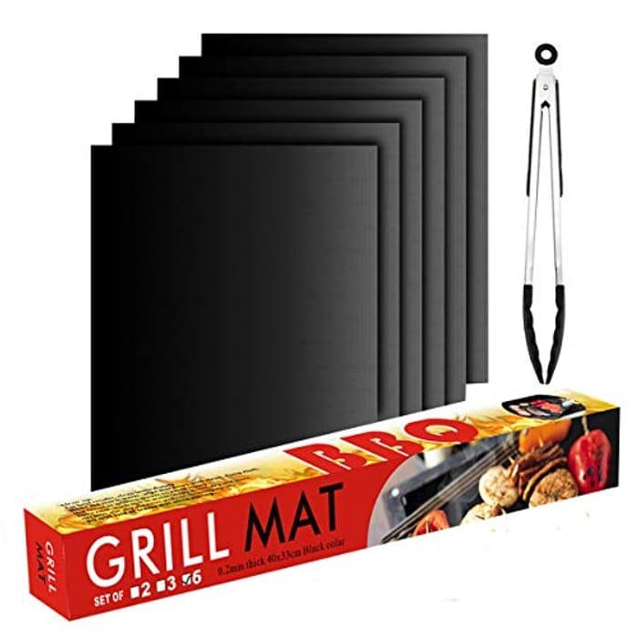 Price Drop! BBQ Grill Mats 6 + 1 Kitchen Tongs