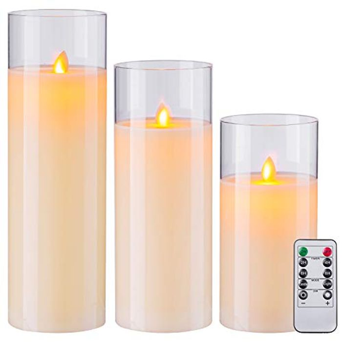 "8"" 10"" 12"" Pack of 3 Flameless Candles Battery"