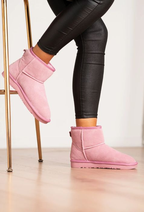 PINK BOUTIQUE Autumn Days Pink Faux Fur Lined Mini Ankle Boot