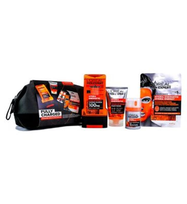 L'Oreal Men Expert Fully Charged Wash Bag 4 Piece Gift Set