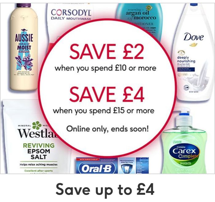 Save an Extra £2 Spend £10/Save £4 Spend £15 on Selected Toiletries