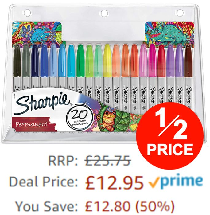 Sharpie Permanent Markers, Fine Point, Pack of 20