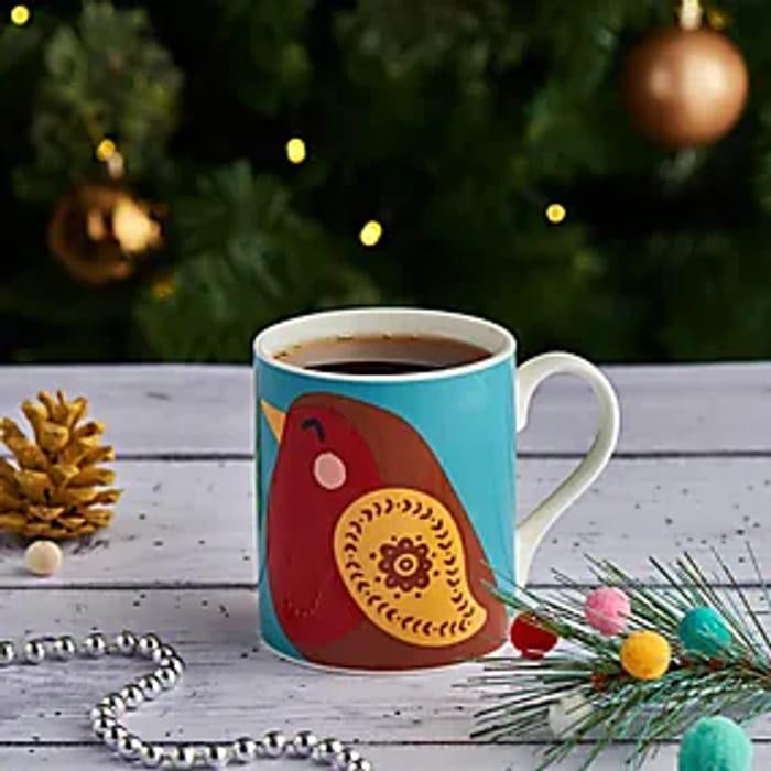 Festive Folk Robin Mug at Dunelm