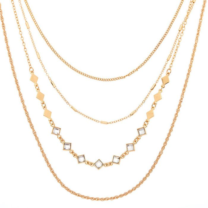 Gold Diamond Multi Strand Necklace