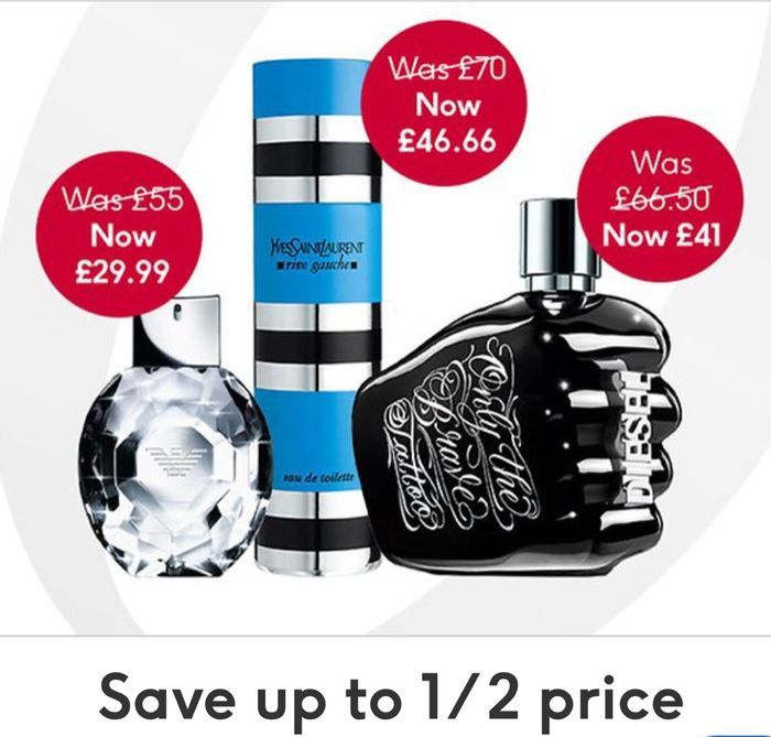 Save up to 1/2 Price on Selected Fragrance/Save £5 When Spend £50 With Code