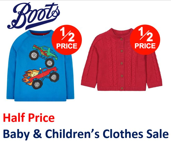 HALF PRICE BABY & KIDS CLOTHING SALE at Boots: 190+ Items FROM £1.50
