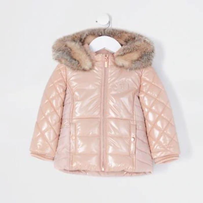 Mini Girls Pink High Shine Padded Jacket