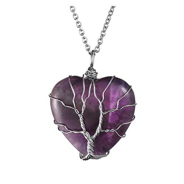 Natural Amethyst Heart Tree of Life Necklace
