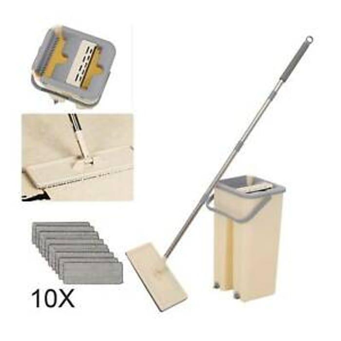 360 Flat Squeeze Microfiber Mop & Bucket Set Home Floor Tiles Cleaning + 10Pads