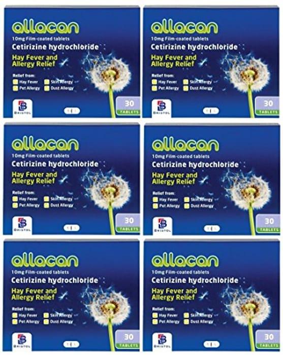 6 Months Supply Allacan Cetirizine Hayfever Allergy Tablets 30 X 6
