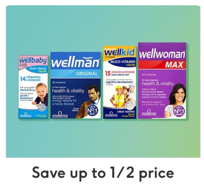 Save up to 1/2 Price on Selected WellFamily/ Price Start £2.75