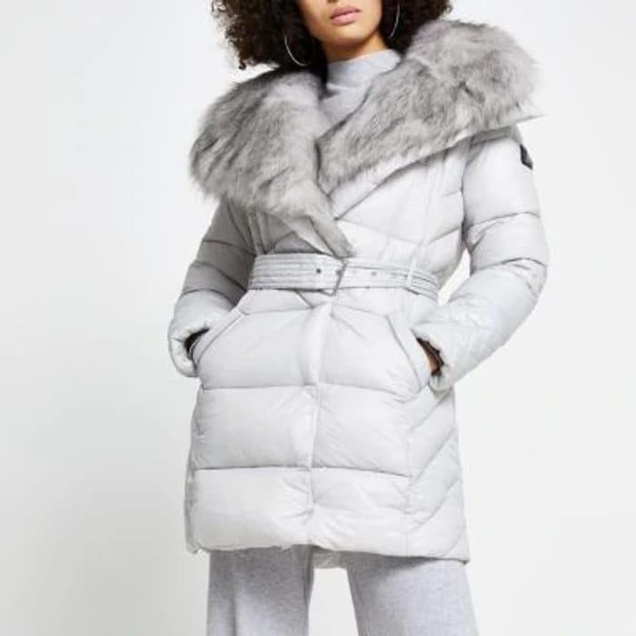 Grey Faux Fur Padded Longline Coat