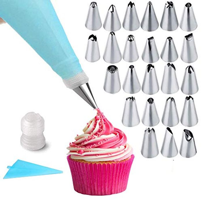 24Pcs Silicone Piping Bag and Nozzle Set