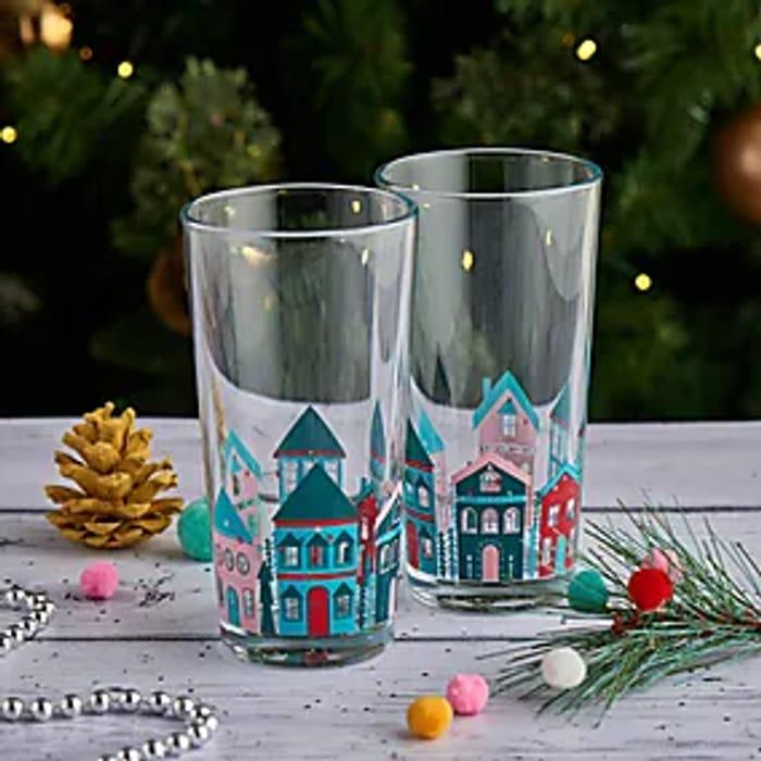 Festive Folk House Hiball Glass X1