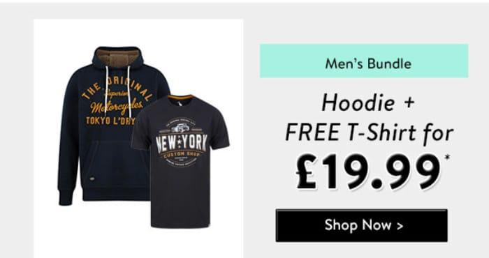 Bundle Deal - Men's Hoodie + Free T-Shirt for £19.99